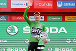 Race leader Christopher Froome (GBR) Team Sky retains the points Green Jersey on the podium at the end of Stage 18 of the 2017 La Vuelta, running 169km from Suances to Santo Toribio de Li&eacute;bana, Spain. 7th September 2017.<br /> Picture: Unipublic/&copy;photogomezsport | Cyclefile<br /> <br /> <br /> All photos usage must carry mandatory copyright credit (&copy; Cyclefile | Unipublic/&copy;photogomezsport)