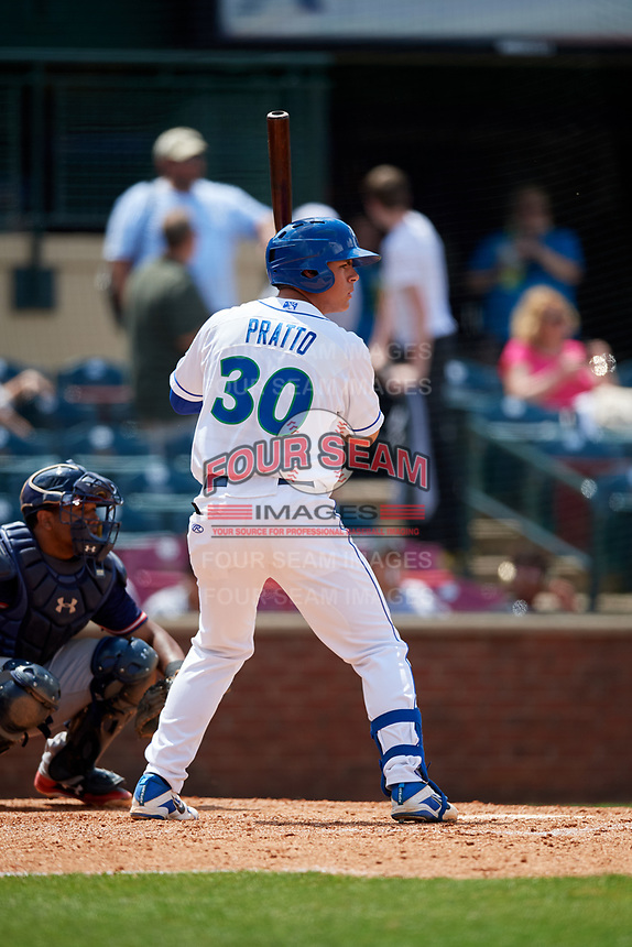 Lexington Legends first baseman Nick Pratto (30) at bat in front of catcher Carlos Martinez (19) during a game against the Rome Braves on May 23, 2018 at Whitaker Bank Ballpark in Lexington, Kentucky.  Rome defeated Lexington 4-1.  (Mike Janes/Four Seam Images)
