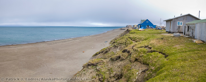 Panorama of coastal erosion along the shores of the Arctic ocean in Utqiagvik (Barrow), Alaska.