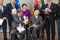 Der Wehrbeauftragte des Deutschen Bundestages, Hans-Peter Bartels (vorne links), uebergibt am Dienstag den 20. Februar 2018 seinen Jahresbericht 2017 an Bundestagspraesident Wolfgang Schaeuble (vorne rechts).<br /> Im Bild stehend vlnr.: <br /> Ruediger Lucassen (AfD);<br /> Thomas Hitschler (SPD);<br /> Anita Schaefer (CDU);<br /> Tobias Lindner (Buendnis 90/Die Gruenen);<br /> Wolfgang Helmich (SPD).<br /> 20.2.2018, Berlin<br /> Copyright: Christian-Ditsch.de<br /> [Inhaltsveraendernde Manipulation des Fotos nur nach ausdruecklicher Genehmigung des Fotografen. Vereinbarungen ueber Abtretung von Persoenlichkeitsrechten/Model Release der abgebildeten Person/Personen liegen nicht vor. NO MODEL RELEASE! Nur fuer Redaktionelle Zwecke. Don't publish without copyright Christian-Ditsch.de, Veroeffentlichung nur mit Fotografennennung, sowie gegen Honorar, MwSt. und Beleg. Konto: I N G - D i B a, IBAN DE58500105175400192269, BIC INGDDEFFXXX, Kontakt: post@christian-ditsch.de<br /> Bei der Bearbeitung der Dateiinformationen darf die Urheberkennzeichnung in den EXIF- und  IPTC-Daten nicht entfernt werden, diese sind in digitalen Medien nach &sect;95c UrhG rechtlich geschuetzt. Der Urhebervermerk wird gemaess &sect;13 UrhG verlangt.]