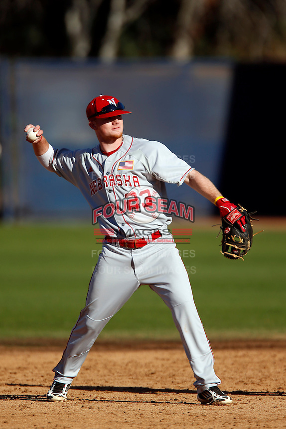Jake Placzek #23 of the Nebraska Cornhuskers during a game against the Cal State Fullerton Titans at Goodwin Field on February 16, 2013 in Fullerton, California. Cal State Fullerton defeated Nebraska 10-5. (Larry Goren/Four Seam Images)