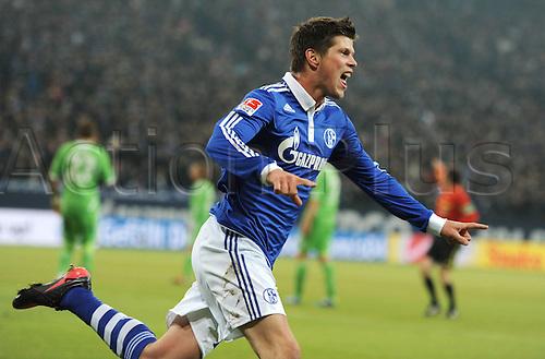 19 02 2012  Gelsenkirchen, Germany. Bundesliga Football.  FC Schalke 04 versus VfL Wolfsburg A cheering Klaas Jan Huntelaar Schalke 04as he scores for Schalke