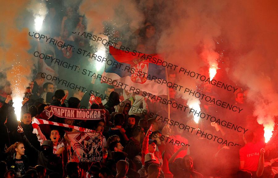 Fudbal Super liga season 2013-2014<br /> Crvena Zvezda v Novi Pazar<br /> Delije navijaci zastave baklje fans supporters flairs flags<br /> Beograd, 19.10.2013.<br /> foto: Srdjan Stevanovic/Starsportphoto &copy;