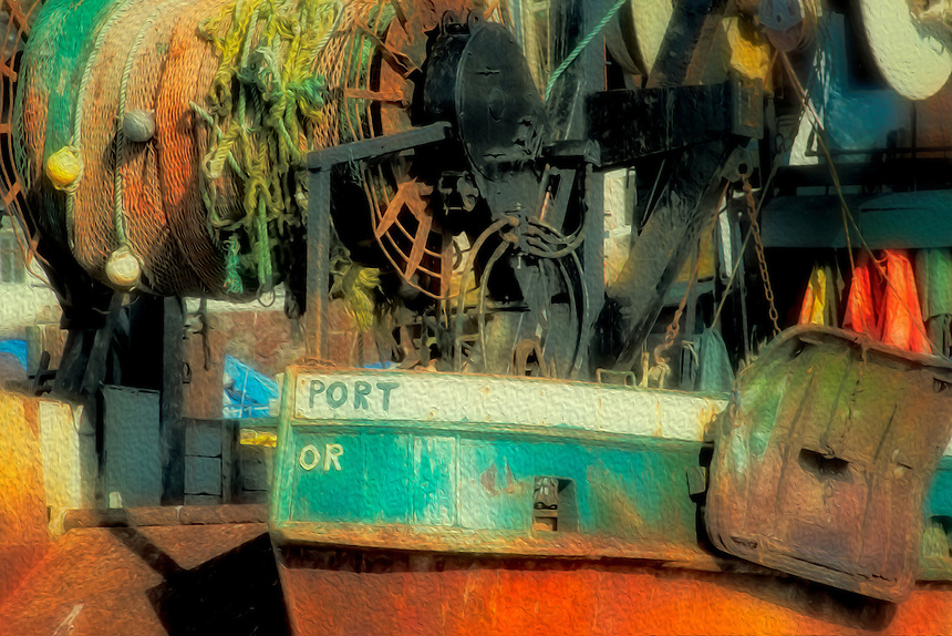 boats, fishing boat, creative effects, artistic, grungy, oil painting, painterly, shipyard, rusty rust, old fishing boat, Portland, Oregon, California, fishing nets, working boat, fishing