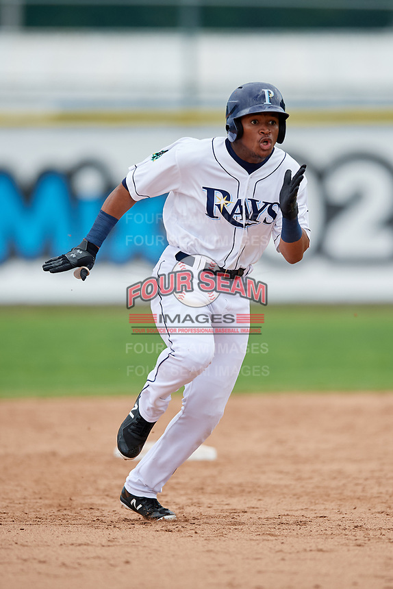 Princeton Rays left fielder Pedro Diaz (30) running the bases during the first game of a doubleheader against the Greeneville Reds on July 25, 2018 at Hunnicutt Field in Princeton, West Virginia.  Princeton defeated Greeneville 6-4.  (Mike Janes/Four Seam Images)