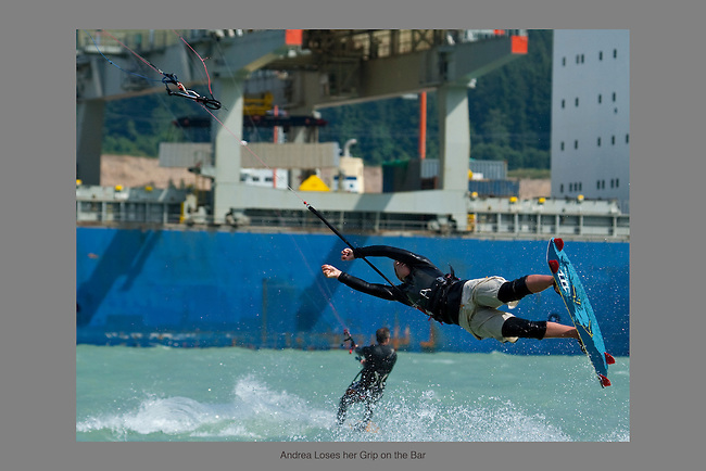 "July 15th, 2009.  Kiteboarder Andrea Fletcher loses her grip on the bar while attempting a trick known as a ""Kite Loop"" at the Spit.  A hard landing follows.  Squamish, BC.  Photo by Gus Curtis."