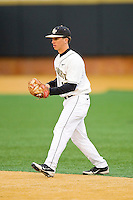 Wake Forest Demon Deacons second baseman Andrew Williams (16) on defense against the Western Carolina Catamounts at Wake Forest Baseball Park on March 26, 2013 in Winston-Salem, North Carolina.  The Demon Deacons defeated the Catamounts 3-1.  (Brian Westerholt/Four Seam Images)