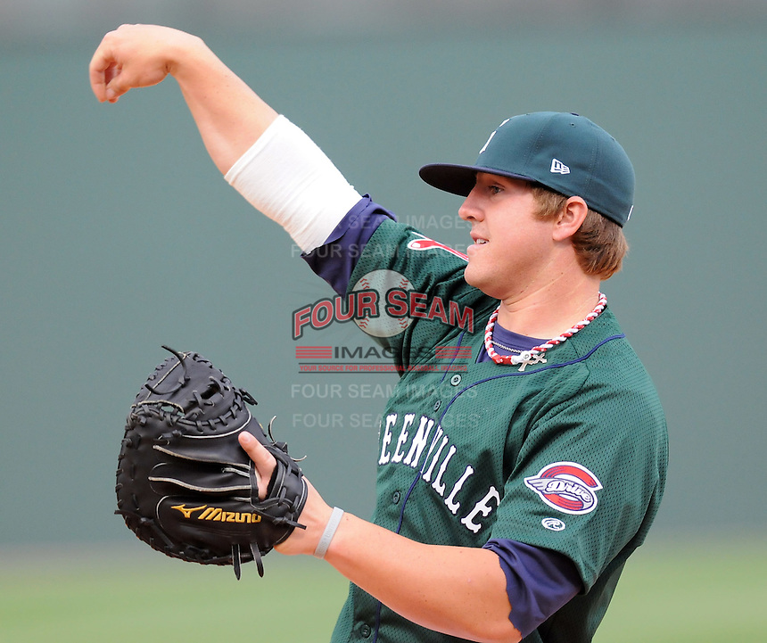 April 2, 2008: Catcher Ty Weeden (14) of the Greenville Drive, Class A affiliate of the Boston Red Sox, during Media Day at Fluor Field at the West End in Greenville, S.C. Photo by:  Tom Priddy/Four Seam Images