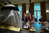United States President Donald J. Trump , center, speaks as he meets with the Emir of Kuwait Jaber Al-Ahmad Al-Sabah in the Cabinet Room of the White House on September 5, 2018 in Washington, DC.  Alex Edelman / Pool via CNP