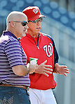 19 May 2012: Washington Nationals Manager Davey Johnson chats with General Manager Mike Rizzo prior to a game against the Baltimore Orioles at Nationals Park in Washington, DC. The Orioles defeated the Nationals 6-5 in the second game of their 3-game series. Mandatory Credit: Ed Wolfstein Photo