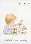 Interlitho, Mercedes, CHILDREN, nostalgic, paintings, boy, dog, flower(KL3735,#K#) Kinder, niños, nostalgisch, nostálgico, illustrations, pinturas