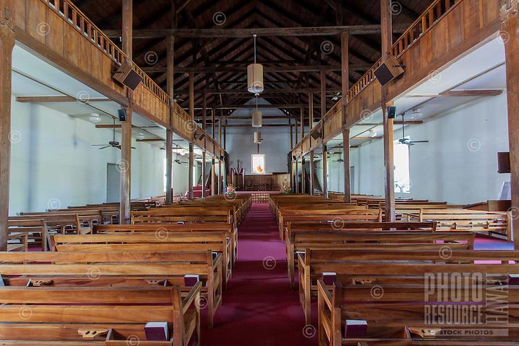The interior of Mokuaikaua Church, Kailua-Kona, Big Island.