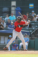 Potomac Nationals outfielder Isaac Ballou (10) at bat during a game against the Myrtle Beach Pelicans at Ticketreturn.com Field at Pelicans Ballpark on May 22, 2015 in Myrtle Beach, South Carolina.  Myrtle Beach defeated Potomac 8-4. (Robert Gurganus/Four Seam Images)