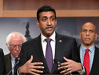 United States Representative Ro Khanna (Democrat of California) makes remarks at a press conference in the US Capitol in Washington, DC announcing a Democratic package of three bills to be introduced in the US Senate and US House to control prescription drug prices on Thursday, January 10, 2019.<br /> Credit: Ron Sachs / CNP /MediaPunch