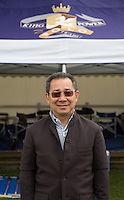 Leicester City Chairman Vichai Srivaddhanaprabha underneath King Power Tent during the Cartier Queens Cup Final match between King Power Foxes and Dubai Polo Team at the Guards Polo Club, Smith's Lawn, Windsor, England on 14 June 2015. Photo by Andy Rowland.
