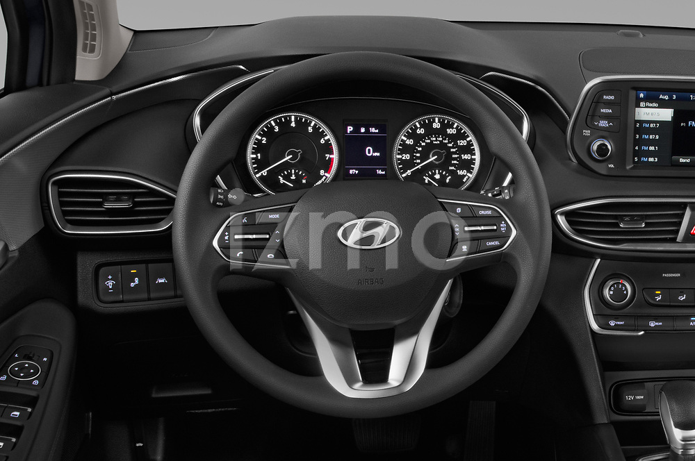 Car pictures of steering wheel view of a 2019 Hyundai Santa FE SE 4 Door SUV
