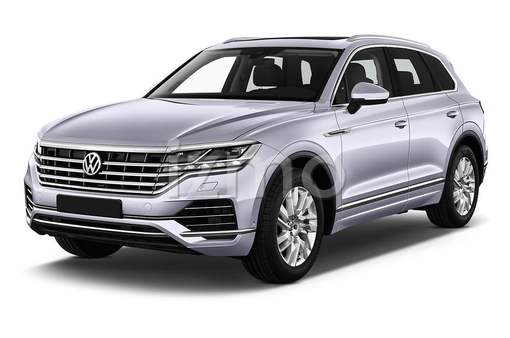 2019 Volkswagen Touareg Business-Atmosphere 5 Door SUV Angular Front stock photos of front three quarter view