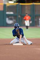 AZL Brewers left fielder Jesus Lujano (26) asks for time after stealing second base against the AZL Giants on August 15, 2017 at Scottsdale Stadium in Scottsdale, Arizona. AZL Giants defeated the AZL Brewers 4-3. (Zachary Lucy/Four Seam Images)