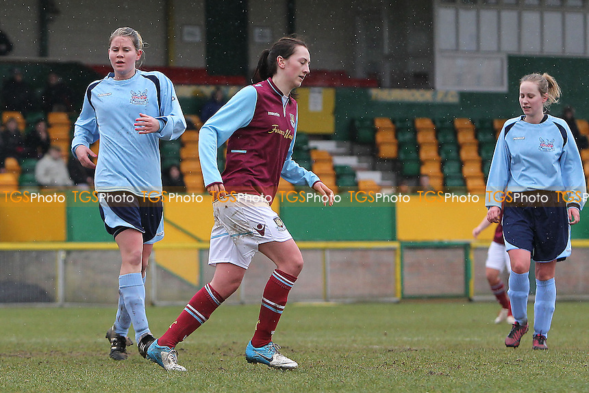 Kelley Blanchflower scores the eighth goal for West Ham and celebrates - West Ham United Ladies vs Witham Town Ladies - Essex FA Womens Cup Quarter-Final Football at Ship Lane, Thurrock FC - 10/02/13 - MANDATORY CREDIT: Gavin Ellis/TGSPHOTO - Self billing applies where appropriate - 0845 094 6026 - contact@tgsphoto.co.uk - NO UNPAID USE.