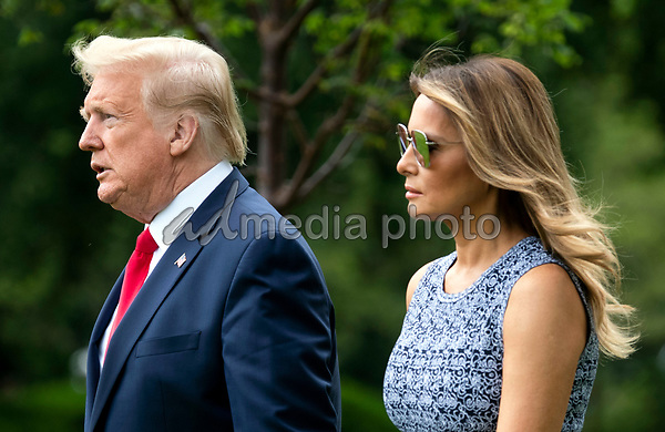 President Donald Trump and First Lady Melania Trump depart the White House in Washington, DC on Wednesday, May 27, 2020. President Trump and the First Lady are traveling to NASA's Kennedy Space Center to watch the SpaceX Mission 2 launch. <br /> Credit: Kevin Dietsch / Pool via CNP/AdMedia