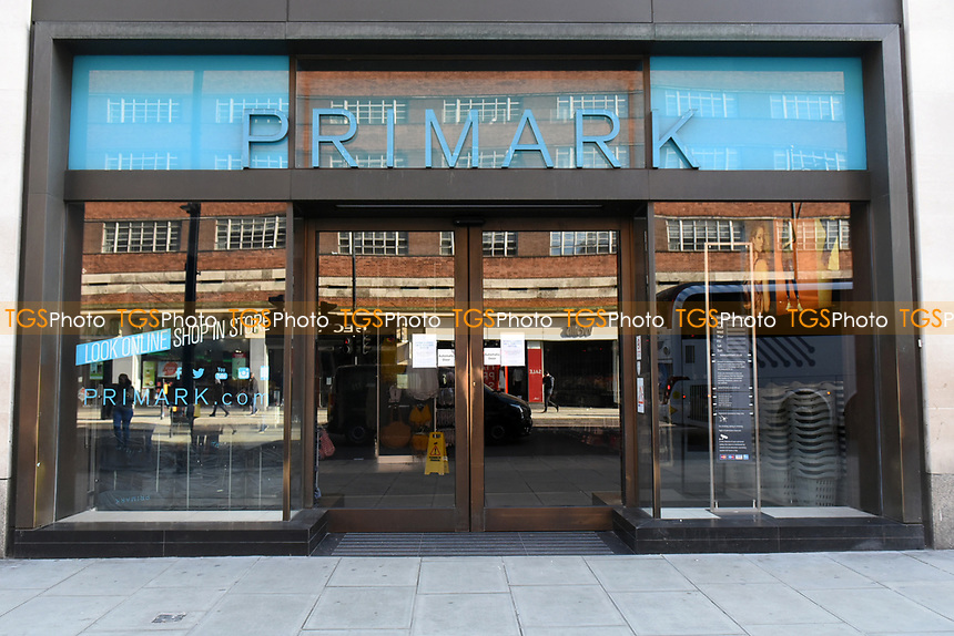 Store closed until further notice signs at the Primark store on Oxford Street. The deserted streets show the severe effects of the COVID-19 epidemic on London on 23rd March 2020