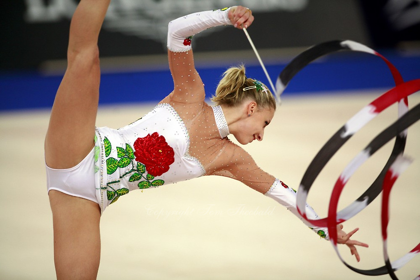 September 21, 2007; Patras, Greece;  Caroline Weber of Austria balances with ribbon during All-Around final at 2007 World Championships Patras.   Caroline placed 14th in the AA and qualified Austria for one position to compete in the individual All-Around competition at the Beijing 2008 Olympics Games. Photo by Tom Theobald. .