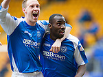 St Johnstone v Kilmarnock.....09.03.13      SPL.Gregory Tade celebrates his goal that made it 2-0 with Steven Anderson.Picture by Graeme Hart..Copyright Perthshire Picture Agency.Tel: 01738 623350  Mobile: 07990 594431