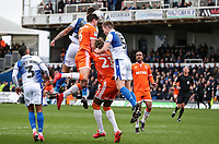 Blackpool's Ben Heneghan wins a header in the penalty area <br /> <br /> Photographer Andrew Kearns/CameraSport<br /> <br /> The EFL Sky Bet League Two - Bristol Rovers v Blackpool - Saturday 2nd March 2019 - Memorial Stadium - Bristol<br /> <br /> World Copyright © 2019 CameraSport. All rights reserved. 43 Linden Ave. Countesthorpe. Leicester. England. LE8 5PG - Tel: +44 (0) 116 277 4147 - admin@camerasport.com - www.camerasport.com