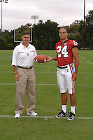 7 August 2006: Stanford Cardinal head coach Walt Harris and Trevor Hooper during Stanford Football's Team Photo Day at Stanford Football's Practice Field in Stanford, CA.