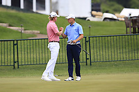 Jordan Spieth (USA) wishes Brandt Snedeker (USA) luck before he starts his match during Sunday's Final Round of the 117th U.S. Open Championship 2017 held at Erin Hills, Erin, Wisconsin, USA. 18th June 2017.<br /> Picture: Eoin Clarke | Golffile<br /> <br /> <br /> All photos usage must carry mandatory copyright credit (&copy; Golffile | Eoin Clarke)