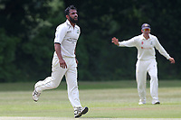 Z Shahzad of Wanstead celebrates taking the wicket of N Gabhawala during Wanstead and Snaresbrook CC vs Ilford CC, Shepherd Neame Essex League Cricket at Overton Drive on 17th June 2017 Z Shahzad of Wanstead celebrates taking the wicket of N Gabhawala during Wanstead and Snaresbrook CC vs Ilford CC, Shepherd Neame Essex League Cricket at Overton Drive on 17th June 2017