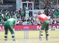 Fans look on as the last batsman takes guard during Pakistan vs Bangladesh, ICC World Cup Cricket at Lord's Cricket Ground on 5th July 2019
