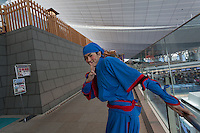 An actor dressed as a ninja from the Edo (samurai) Period to welcome visitors to Haneda International Airport, Tokyo, Japan. Tuesday May 3rd 2016. The Edo festival takes place over the three days of national holidays called Golden Week ( May 3rd to 5th) and features costume parades, music and stage shows along with other fun activities for visitors in and around the Edo themed shopping areas in the terminal building.