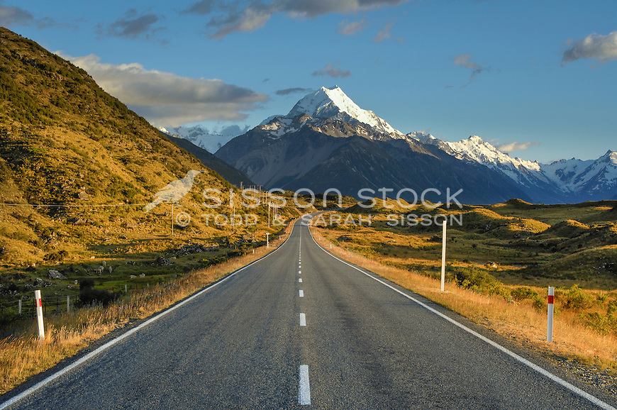 Spectacular view of Aoraki Mt Cook summit above SH80- road to Mt Cook village.