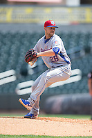 Tennessee Smokies relief pitcher Stephen Perakslis (28) in action against the Birmingham Barons at Regions Field on May 4, 2015 in Birmingham, Alabama.  The Barons defeated the Smokies 4-3 in 13 innings. (Brian Westerholt/Four Seam Images)