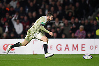 Elliot Daly of England chases after the ball. Old Mutual Wealth Series International match between England and Australia on November 18, 2017 at Twickenham Stadium in London, England. Photo by: Patrick Khachfe / Onside Images