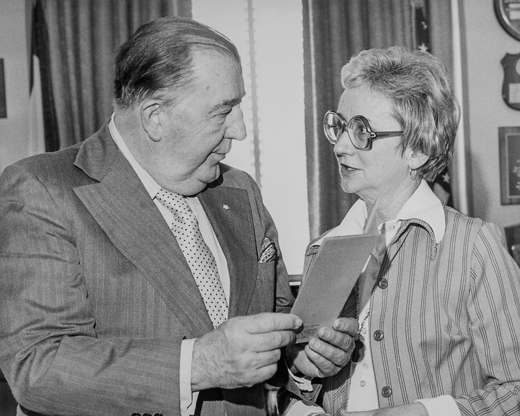 Sen. Jennings Randolph, D-W.Va., with party member in 1976. (Photo by CQ Roll Call)