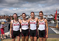 Henley-on-Thames. United Kingdom.  2017 Henley Royal Regatta, Henley Reach, River Thames. <br /> Women's Four. New York Athletic Club. Bow Olivia COFFEY, Kerry SIMMONDS Susan FRANCIA and Felice MUELLER<br /> 10:51:52  Friday  30/06/2017<br /> <br /> [Mandatory Credit. Intersport Images}.