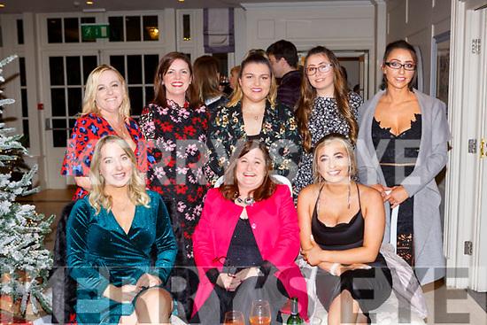 The staff from Burkes supermarket enjoying their Christmas Party in the Killarney Heights Hotel on Saturday night front row l-r: Eileen O'Donoghue, Maria Burke and Louise Burke. Back row: Mairead Biggane, Majella O'Dwyer, Maeve O'Riordan, Rebecca Burke, and Emma Burke