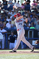 Austin O'Banion (25) of the Spokane Indians bats against the Hillsboro Hops at Ron Tonkin Field on July 22, 2017 in Hillsboro, Oregon. Spokane defeated Hillsboro, 11-4. (Larry Goren/Four Seam Images)