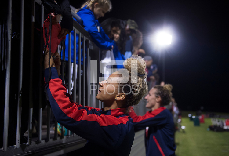 Boyds, MD - Saturday September 30, 2017: Estelle Johnson and fans during a regular season National Women's Soccer League (NWSL) match between the Washington Spirit and the Seattle Reign FC at Maureen Hendricks Field, Maryland SoccerPlex.