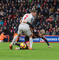 Liverpool's James Milner (left) battles for possession with  Bournemouth's David Brooks (right) <br /> <br /> Photographer David Horton/CameraSport<br /> <br /> The Premier League - Bournemouth v Liverpool - Saturday 8th December 2018 - Vitality Stadium - Bournemouth<br /> <br /> World Copyright © 2018 CameraSport. All rights reserved. 43 Linden Ave. Countesthorpe. Leicester. England. LE8 5PG - Tel: +44 (0) 116 277 4147 - admin@camerasport.com - www.camerasport.com