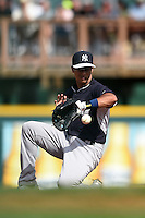 New York Yankees Cole Figueroa (62) during a Spring Training game against the Pittsburgh Pirates on March 5, 2015 at McKechnie Field in Bradenton, Florida.  New York defeated Pittsburgh 2-1.  (Mike Janes/Four Seam Images)