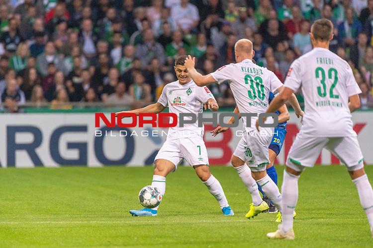 10.08.2019, wohninvest Weserstadion, Bremen, GER, DFB-Pokal, 1. Runde, SV Atlas Delmenhorst vs SV Werder Bremen<br /> <br /> DFB REGULATIONS PROHIBIT ANY USE OF PHOTOGRAPHS AS IMAGE SEQUENCES AND/OR QUASI-VIDEO.<br /> <br /> im Bild / picture shows<br /> Milot Rashica (Werder Bremen #07)<br /> Davy Klaassen (Werder Bremen #30)<br /> Marco Friedl (Werder Bremen #32)<br /> <br /> Foto © nordphoto / Kokenge