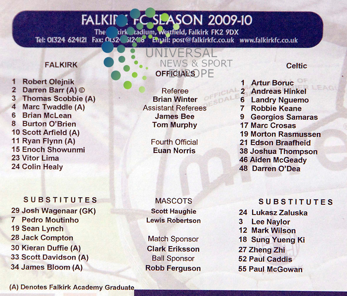 Team Lines during The Clydesdale Bank Premier League match between Falkirk and Celtic at falkirk Stadium 07/03/10..Picture by Ricky Rae/universal News & Sport (Scotland).