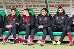 09.02.2019, HDI Arena, Hannover, GER, 1.FBL, Hannover 96 vs 1. FC Nuernberg<br /> <br /> DFL REGULATIONS PROHIBIT ANY USE OF PHOTOGRAPHS AS IMAGE SEQUENCES AND/OR QUASI-VIDEO.<br /> <br /> im Bild / picture shows<br /> Ersatzbank 1. FC N&uuml;rnberg, <br /> Alexander Fuchs (Nuernberg #35), Patrick Erras (Nuernberg #29), Patrick Erras (Nuernberg #29), Yuya Kubo (Nuernberg #14), Mikael Ishak (Nuernberg #09), <br /> <br /> Foto &copy; nordphoto / Ewert