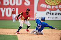 Toledo Mud Hens shortstop Willi Castro (5) waits for a throw as Jason Coats (17) slides into second base during an International League game against the Durham Bulls on July 16, 2019 at Fifth Third Field in Toledo, Ohio.  Durham defeated Toledo 7-1.  (Mike Janes/Four Seam Images)