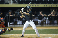 Jake Mueller (6) of the Wake Forest Demon Deacons at bat against the Virginia Cavaliers at David F. Couch Ballpark on May 18, 2018 in  Winston-Salem, North Carolina.  The Cavaliers defeated the Demon Deacons 15-3.  (Brian Westerholt/Four Seam Images)