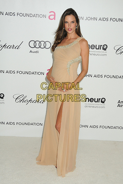 Alessandra Ambrosio.20th Annual Elton John Academy Awards Viewing Party held at West Hollywood Park, West Hollywood, California, USA..February 26th, 2012.oscars full length dress beige silver trim slit split pregnant one shoulder  embellished jewel encrusted.CAP/ADM/BP.©Byron Purvis/AdMedia/Capital Pictures.