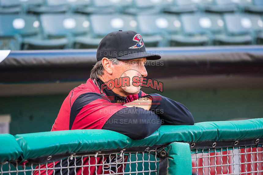 Sacramento River Cats manager Bob Mariano (19) before the game against the Salt Lake Bees in Pacific Coast League action at Smith's Ballpark on April 17, 2015 in Salt Lake City, Utah.  (Stephen Smith/Four Seam Images)